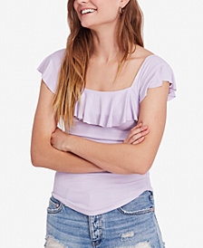 Free People Last Call Ribbed Flounce Top