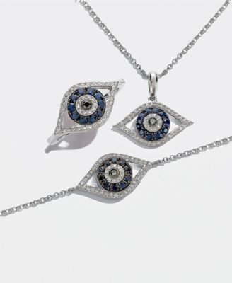EFFY® Sapphire (1/4 ct. t.w.) and Diamond (1/6 ct. t.w.) Evil Eye Bracelet in 14k White Gold(Also Available In 14k Yellow Gold)