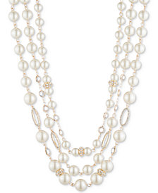 "Anne Klein Gold-Tone Crystal & Imitation Pearl Triple-Row 12-1/2"" Collar Necklace"