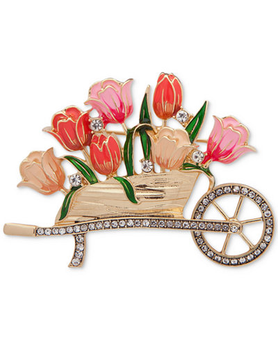 Anne Klein Gold-Tone Pavé & Enamel Flower Wheelbarrow Pin