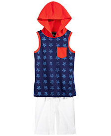 Epic Threads Hooded Tank Top & Pull-On Shorts Separates, Little Boys, Created for Macy's