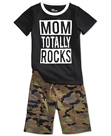 Epic Threads Graphic-Print T-Shirt & Camo-Print Shorts Separates, Toddler Boys, Created for Macy's