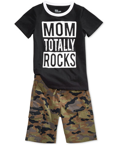 Epic Threads Graphic-Print T-Shirt & Camo-Print Shorts Separates, Little Boys, Created for Macy's
