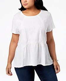 Style & Co Plus Size Embroidered High-Low Hem Top, Created for Macy's