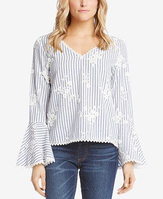 Cotton Striped Bell Sleeve Top by Karen Kane
