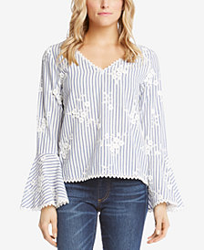 Karen Kane Cotton Striped Bell-Sleeve Top