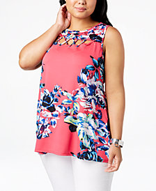 Belldini Plus Size Lace-Up-Yoke Tunic