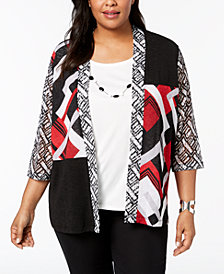 Alfred Dunner Barcelona  Plus Size Layered-Look Necklace Top