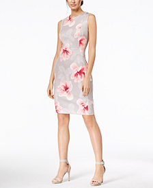 Calvin Klein Petite Floral-Print Scuba Sheath Dress