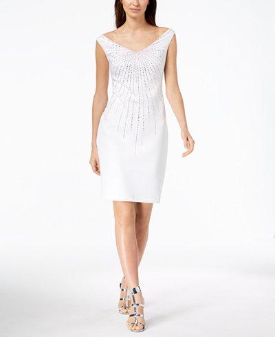 Calvin Klein Off-The-Shoulder Gem-Embellished Dress