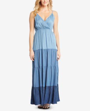 Karen Kane Chambray Tiered Maxi Dress 6194772