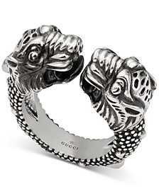 Men's Tiger Head Cuff Ring in Sterling Silver
