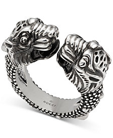 Gucci Men's Tiger Head Cuff Ring in Sterling Silver