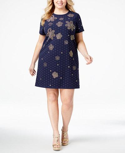 Michael Michael Kors Plus Size Embellished Shift Dress Dresses