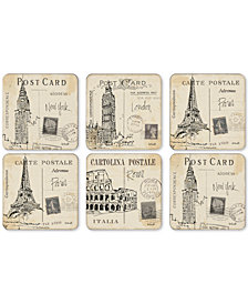 Pimpernel Postcard Sketches Set of 6 Coasters