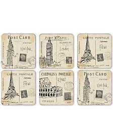 Pimpernel Postcard Sketches Set of 6 Coasters
