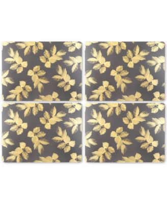 Etched Leaves Dark Gray Set of 4 Placemats