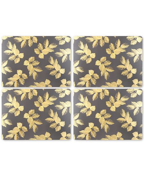 Pimpernel Etched Leaves Dark Gray Set of 4 Placemats
