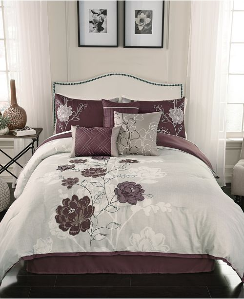 Transform Your Room With The Zora Comforter Set Featuring A Rich Purple Ground And Decorative Fl Embroidery For Luxe Style