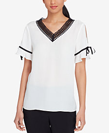 Tahari ASL Crocheted-Trim Top