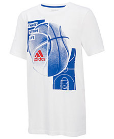 adidas Three Stripe Life-Print Cotton T-Shirt, Big Boys