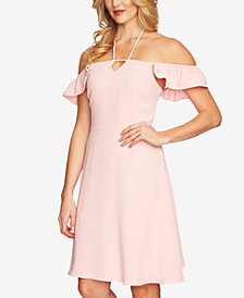 CeCe Off-The-Shoulder Flutter-Sleeve Halter Dress
