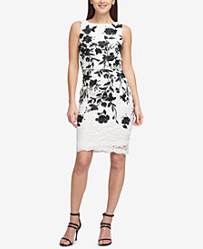 DKNY Embroidered Floral Lace Sheath Dress, Created for Macy's