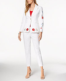 Nine West Embroidered Blazer & Straight-Leg Pants