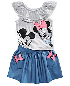 Disney's® 2-Pc. Minnie and Mickie Mouse Top & Skirt Set, Toddler Girls