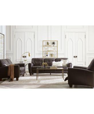 Furniture Kaleb 84 Quot Tufted Leather Sofa Created For Macy