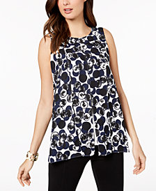 Alfani Printed Split-Overlay Top, Created for Macy's