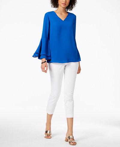 Alfani V-Neck Poet-Sleeve Top & Cropped Straight-Leg Pants, Created for Macy's