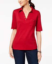 Karen Scott Petite Cotton Studded Cotton Collared Top, Created for Macy's