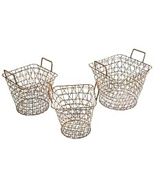 Madison Park Havana Wire Baskets, Set of 3