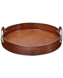 Madison Park Signature Camryn Leather Round Tray Medium
