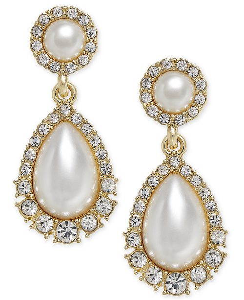 Charter Club Gold-Tone Crystal & Imitation Pearl Drop Earrings, Created for Macy's