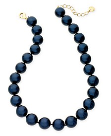 "Charter Club Gold-Tone Imitation Navy Pearl Collar Necklace, 16"" + 2"" extender, Created for Macy's"