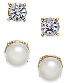 Charter Club Gold-Tone 2-Pc. Set Crystal & Imitation Pearl Stud Earrings, Created for Macy's