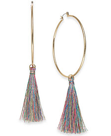 Thalia Sodi Gold-Tone Tassel Drop Hoop Earrings, Created for Macy's