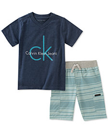 Calvin Klein Baby Boys 2-Pc. Logo T-Shirt & Striped Shorts Set