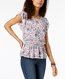 Style & Co Flutter Peplum Top, Created for Macy's