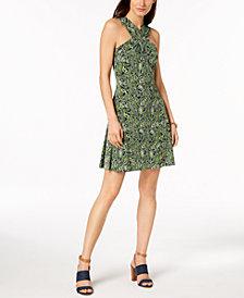MICHAEL Michael Kors Petite Cross-Neck Fit & Flare Dress