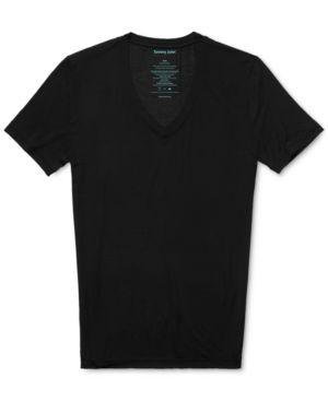 TOMMY JOHN Second Skin Micromodal Deep V-Neck Undershirt in Black