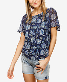 Lucky Brand Floral-Print Cutout Top