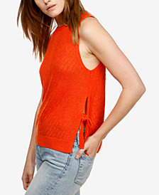 Lucky Brand Sleeveless Side-Tie Sweater