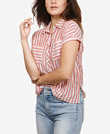 Lucky Brand Striped Tie-Back Shirt