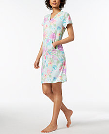 Miss Elaine Floral-Print Terry Robe