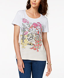 Karen Scott Petite  Printed T-Shirt, Created for Macy's