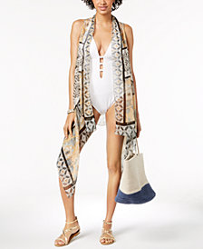 I.N.C. Drape-Front Printed Cover-Up & Vest, Created for Macy's
