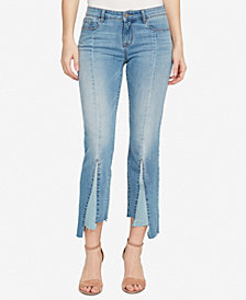 WILLIAM RAST Colorblock Inset Cropped Flared Jeans